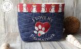 """Besticktes Utensilo * Aufbewahrungskörbchen """"I love my Dalmatiner"""" blau"""