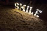 Leuchtbuchstaben SMILE, metall