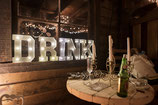 Leuchtbuchstaben DRINK, metall