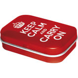 KEEP CALM AND CARRY ON  MINT BOX    4x6x1,6cm