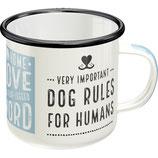 Pfotenschild - Dog Rules   8x8cm,  360ml