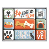 LIVE IS ALWAIS BETTER WITH A DOG,  Magnet-Set 9x2x7cm / 83100