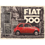 Fiat 500 - Red Car in The Street       30x40cm