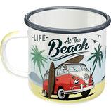 VW  Beach  Emaille-Tasse 8x8cm, 360ml