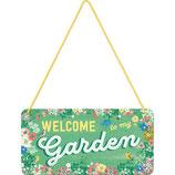 WELCOME Garden  Hängeschild 10x20cm