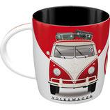 VW Tasse  weiss/rot  8,5x9cm, 330ml  /  43044