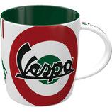 Vespa Tasse weiss/rot/grün  8,5x9cm, 330ml  /  43057