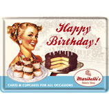 Happy Birthday  Blechpostkarte  10x14cm  /  10101