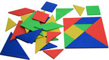 Farbiger Tangramsatz mit 28 Teilen
