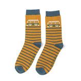 Männer-Socken Bamboo Camper Stripes mustard