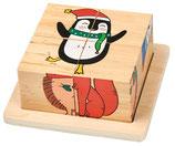 Holz-Würfelpuzzle Weihnachtsfreunde
