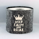 Klopapier-Manchette ★ Keep Calm and Relax ★ grau-meliert