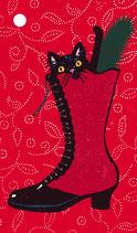 4 Geschenkanhänger Stiefelkatze rot
