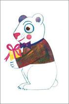 4 Geschenkanhänger  Bär mit Geschenk
