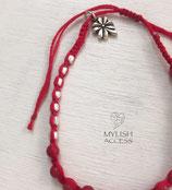 赤い珊瑚のマクラメブレスレット#438