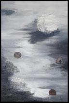 Gemälde mit Achat und 32 Karat Blattgold