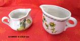 """Pot à lait + Pot à crème porcelaine """" Le Terrine Botaniche"""" Tognana"""