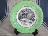 ASSIETTE Parlante en céramique barbotine à décor de chasse