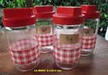 """Pots à condiments en verre décoré Felix Potin """"La Parisienne"""""""