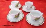 """4 Tasses à café et Sous-tasses en porcelaine """"Le Terrine Botaniche"""" Tognana"""