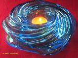 """Bougeoir """"Tourbillon"""" en verre bleu de Murano"""