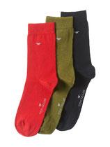 Tom Tailor Socken 3er Pack rot, dunkelgrün, schwarz