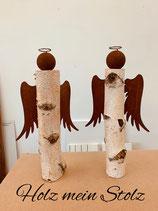 Engel Birkenstamm Edelrost ca 45 cm hoch