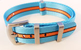hellblau orange gestreift seat belt  18 mm 8507