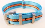 hellblau orange gestreift seat belt  22 mm 8521