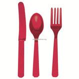 Amscan Столовые приборы Apple Red, 24 шт., пластмассовые