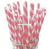 A0 Трубочки бумажные Полоски розовые
