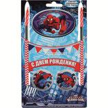"""AO1 Праздничный набор для торта """"С Днем Рождения"""" Человек паук, 2 свечи"""