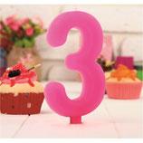 "AO2 Свеча цифра-гигант ""3"", розовая"