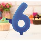 """AO2 Свеча цифра-гигант """"6"""", синяя"""
