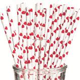 A1 Трубочки бумажные Сердечки красные