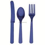 Amscan Столовые приборы Royal Blue, 24шт, пластмассовые