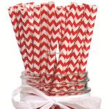 A1 Трубочки бумажные Полоски зигзаг красные