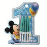 """AO1 Свечи на открытке """"1 год"""", Малыш Микки, (набор 10 шт)"""