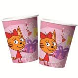 "Стаканы ""Три кота"" розовые 225 мл 6 шт, бумажные"