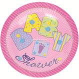 """Тарелки """"Baby Shower - первый день рождения девочки"""" 17 см 6 шт"""