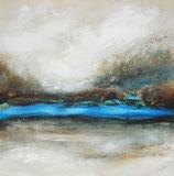 Original Abstracte Kunst, Acrylgemälde, Mystische Landschaft, Handgemalt, Unikat, Format: 50x50x3,5 cm