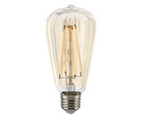 LED Vintage-Lampe, E27, Filament, Gold, Dimmbar, 64mm