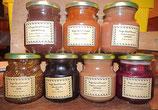 Confitures de cerise, griotte, pèche de vigne, prune sauvage, quetsche, rhubarbe, coing, gamay, ...