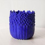 Cache-pot ascensionnel  floral M bleu électrique