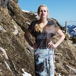 """Knielanges Kleid """"Schneelandschaft"""" mit exklusivem Kunstprint"""