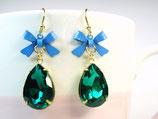 Ohrhänger «Smaragd» Dunkelgrün & Hellblau