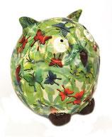 """Eule """"Zazou"""" grün mit Schmetterlingen"""