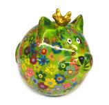 """Katze """"Frieda"""" grün mit Blumen"""