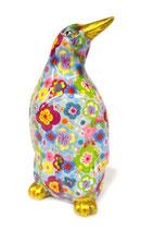 Pinguin hellblau mit Blumen