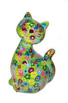 "Katze ""Caramel"" grün mit Blumen"